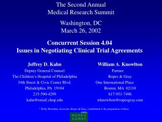 The Second Annual  Medical Research Summit Washington, DC March 26, 2002