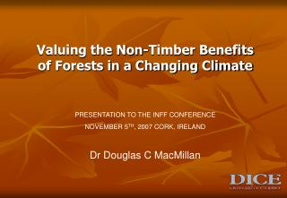 Valuing the Non-Timber Benefits of Forests in a Changing Climate