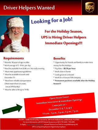Driver Helpers Wanted