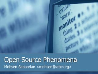 Open Source Phenomena