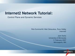 Internet2 Network Tutorial: