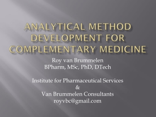 What is Analytical Method Validation