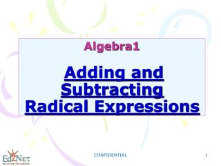 Algebra1 Adding and Subtracting Radical Expressions