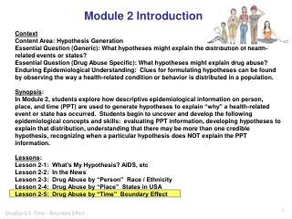 Module 2 Introduction Context Content Area: Hypothesis Generation