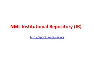 NML Institutional Repository (IR)