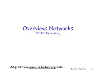 Overview: Networks CPS372 Networking