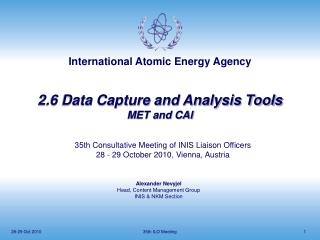 2.6 Data Capture and Analysis Tools MET and CAI