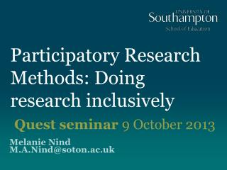 Participatory Research Methods: Doing research inclusively