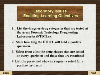 Laboratory Issues Enabling Learning Objectives