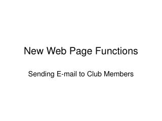 New Web Page Functions