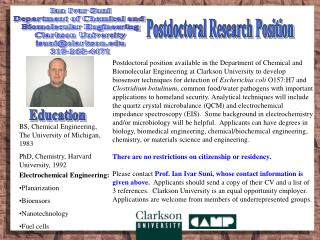 Ian Ivar Suni Department of Chemical and  Biomolecular Engineering Clarkson University