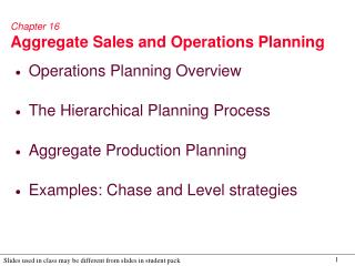 Chapter 16 Aggregate Sales and Operations Planning