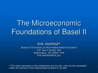 The Microeconomic Foundations of Basel II