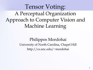 Tensor Voting: A Perceptual Organization Approach to Computer Vision and Machine Learning