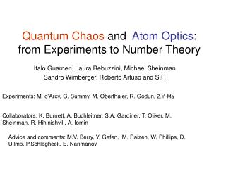 Quantum Chaos  and Atom Optics : from Experiments to Number Theory