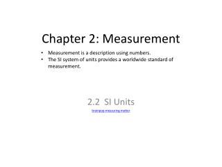 Chapter 2: Measurement