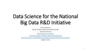 Data Science for the National Big Data R&D Initiative