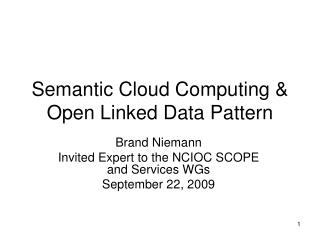 Semantic Cloud Computing & Open Linked Data Pattern