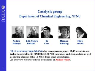 Catalysis group  Department of Chemical Engineering, NTNU