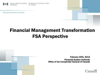 Financial Management Transformation FSA Perspective