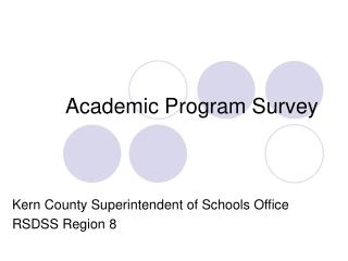 Academic Program Survey