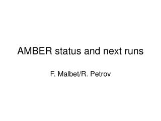 AMBER status and next runs