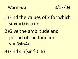Warm-up3/17/09