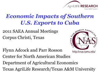 Economic Impacts of Southern U.S. Exports to Cuba