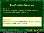 Proofreading Warm-up