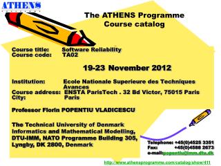 Course title : Software Reliability Course code :       TA02 1 9 - 23 November 2012