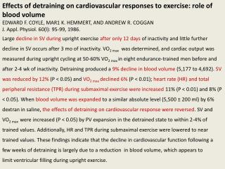 Effects of detraining on cardiovascular responses to exercise: role of blood volume