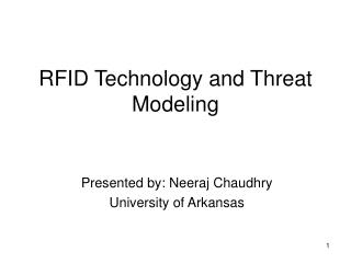 RFID Technology and Threat Modeling