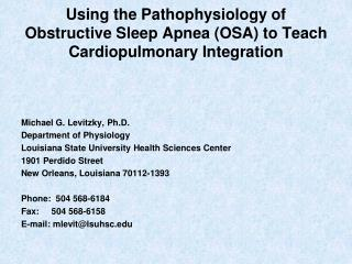 Using the Pathophysiology of Obstructive Sleep Apnea (OSA) to Teach Cardiopulmonary Integration