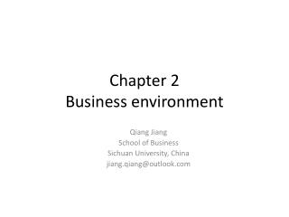 Chapter 2 Business  environment