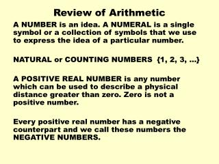 Review of Arithmetic