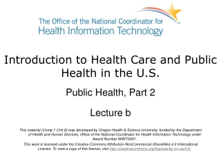 Introduction to Health Care and Public Health in the U.S.