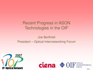 Recent Progress in ASON Technologies in the OIF