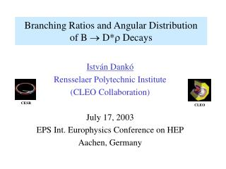 Branching Ratios and Angular Distribution  of B    D*  Decays