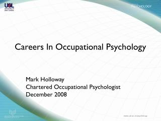 Careers In Occupational Psychology