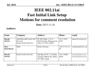 IEEE 802.11ai Fast Initial Link Setup  Motions  for comment  resolution