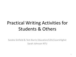 Practical Writing Activities for Students & Others
