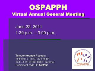 OSPAPPH  Virtual Annual General Meeting