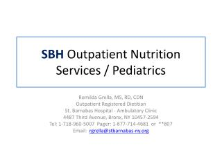 SBH  Outpatient Nutrition Services / Pediatrics