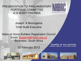 PRESENTATION TO PARLIAMENTARY PORTFOLIO COMMITTEE  A-G AUDIT FINDINGS