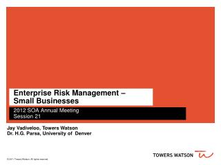 Enterprise Risk Management –  Small Businesses