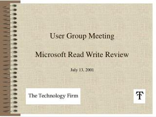 User Group Meeting Microsoft Read Write Review