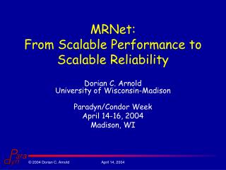 MRNet: From Scalable Performance to Scalable Reliability