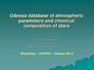 Odessa database of atmospheric parameters and chemical composition of stars