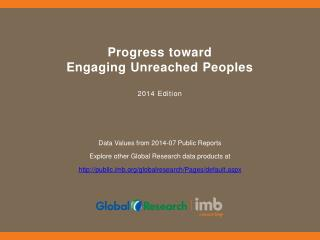 Progress  toward  Engaging Unreached Peoples 2014  Edition