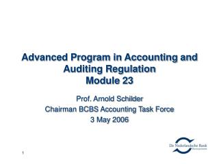 Advanced Program in Accounting and Auditing Regulation Module 23
